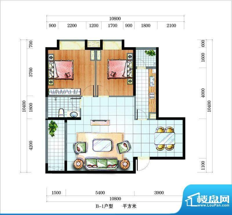 海韵东岸B1户型 2室面积:105.25平米