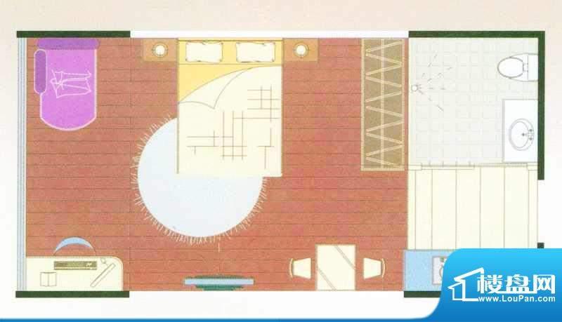 芭普假日户型 1室1厅面积:25.00平米