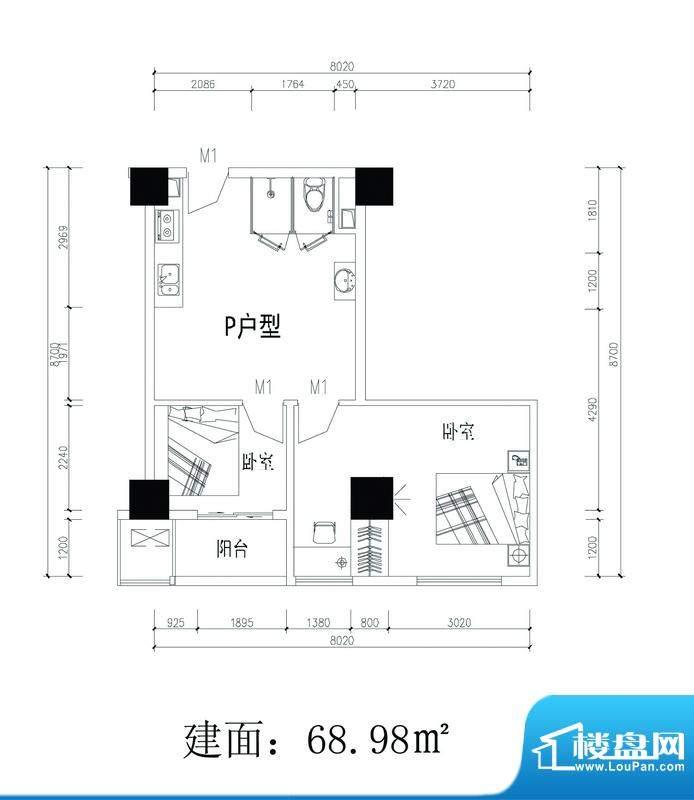 轻城阳光p户型 2室1面积:69.98平米