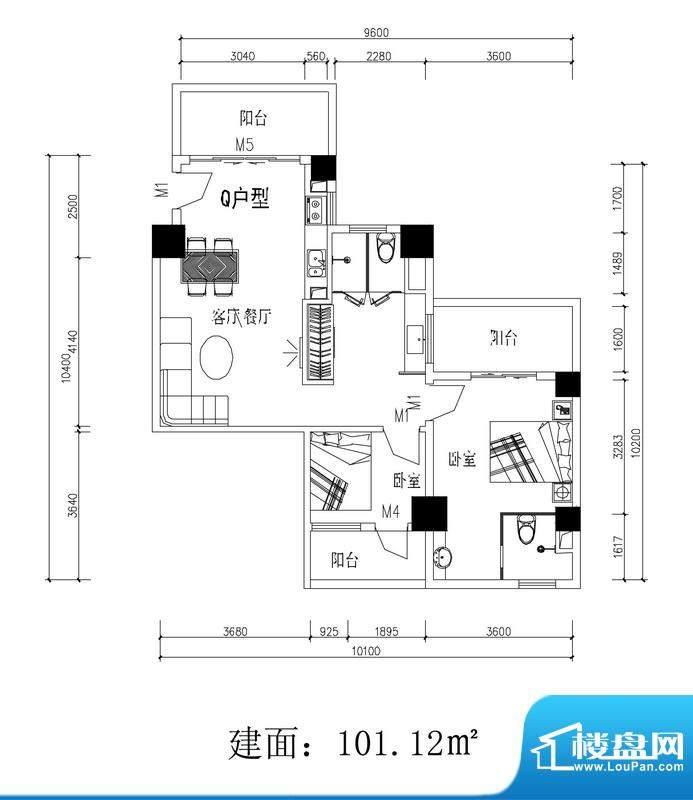 轻城阳光Q户型 2室2面积:101.12平米