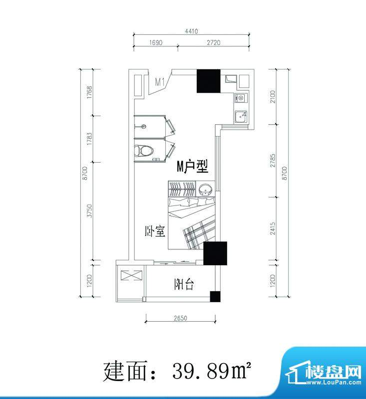 轻城阳光M户型 1室1面积:39.89平米