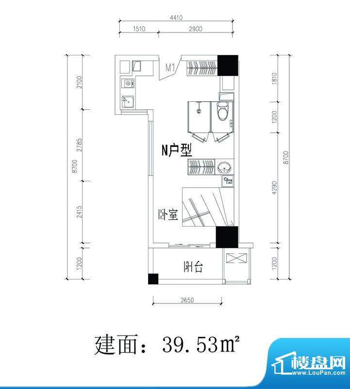轻城阳光N户型 1室1面积:39.53平米
