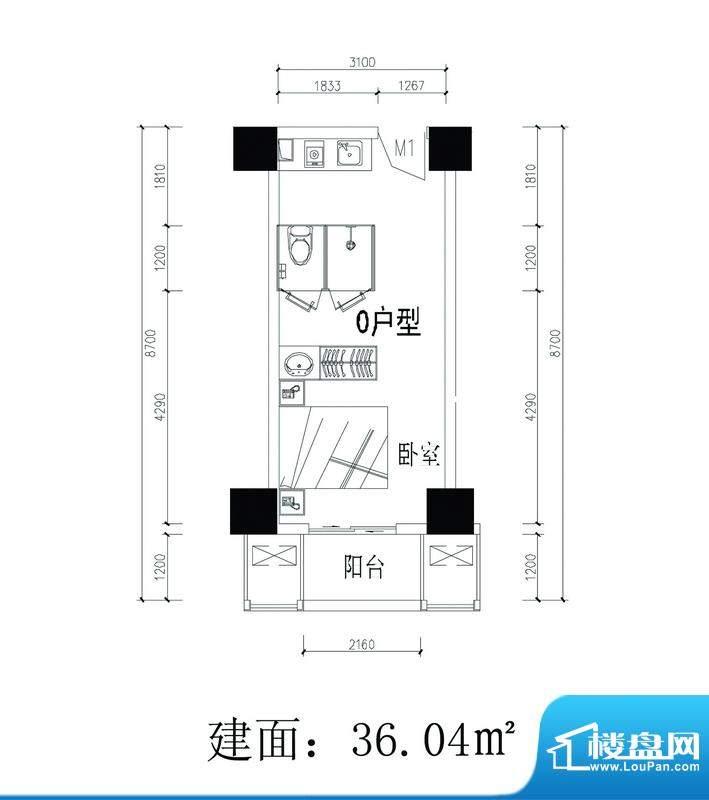 轻城阳光O户型 1室1面积:36.04平米