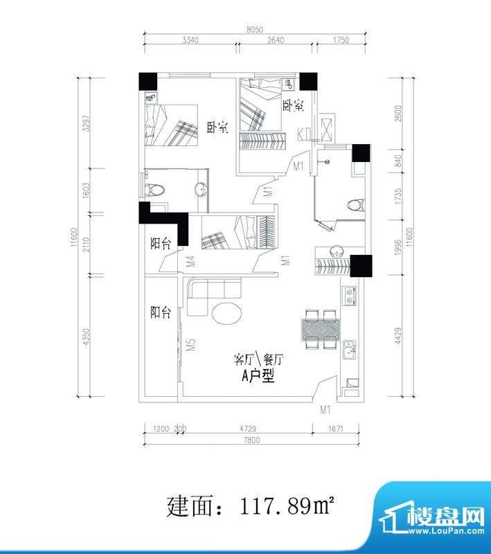 轻城阳光A户型 3室2面积:117.89平米