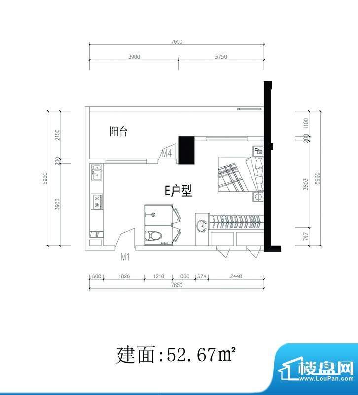 轻城阳光E户型 1室1面积:52.67平米