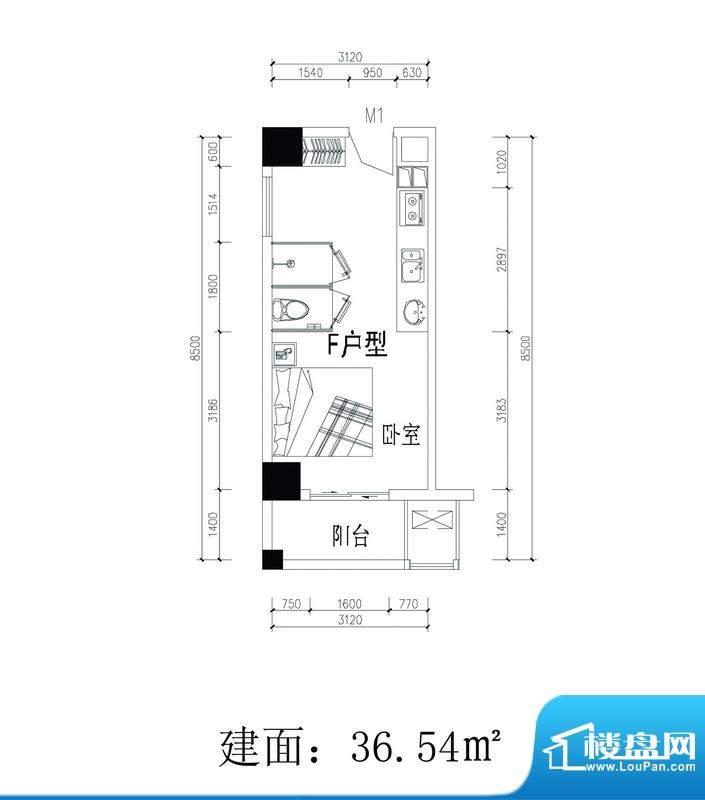 轻城阳光F户型 1室1面积:36.54平米