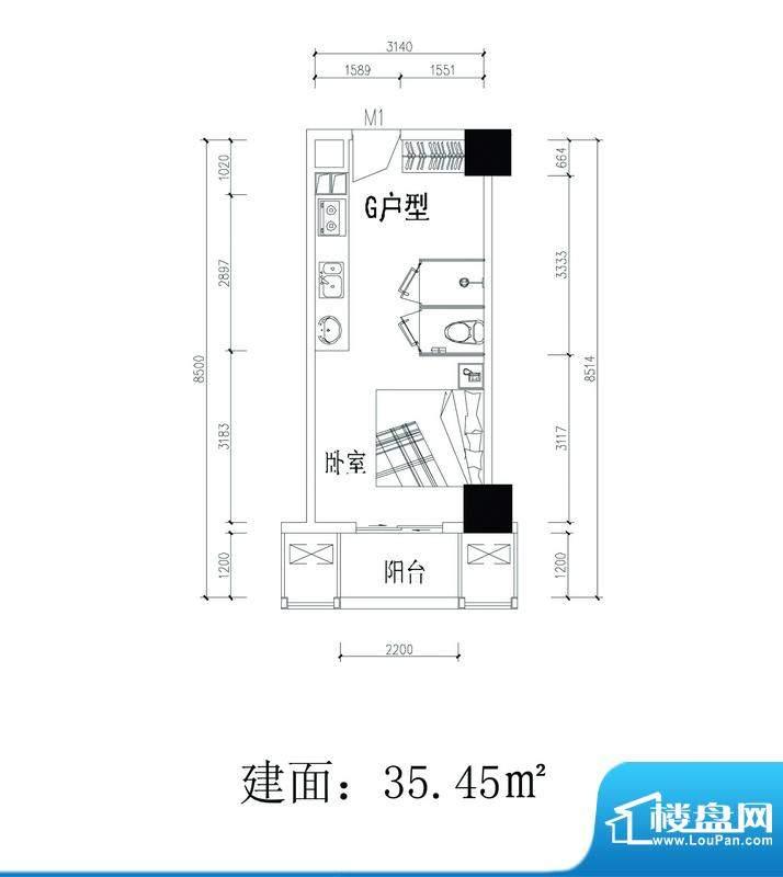 轻城阳光G户型 1室1面积:35.45平米