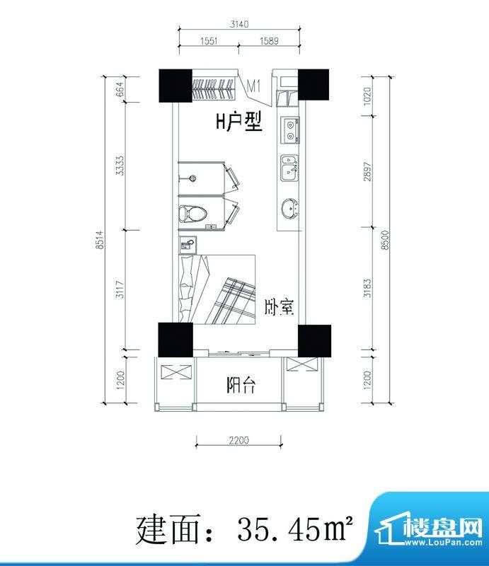 轻城阳光H户型 1室1面积:35.45平米