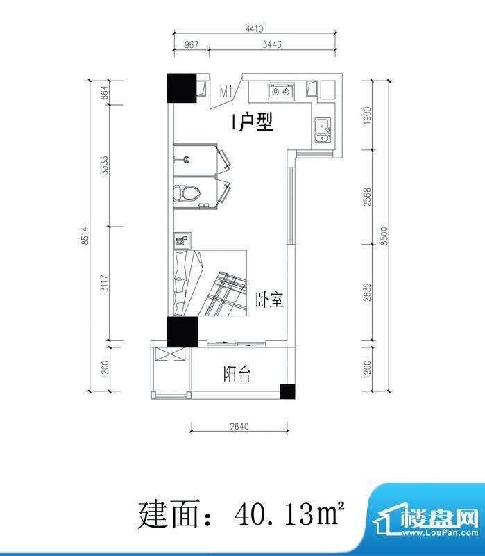 轻城阳光I户型 1室1面积:40.13平米
