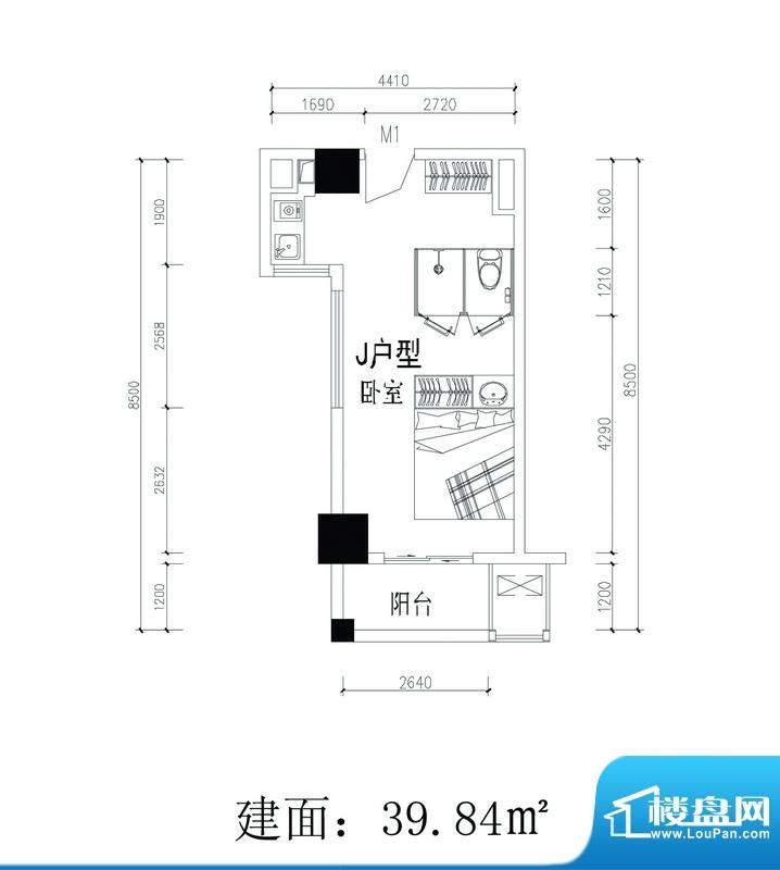 轻城阳光J户型 1室1面积:39.84平米