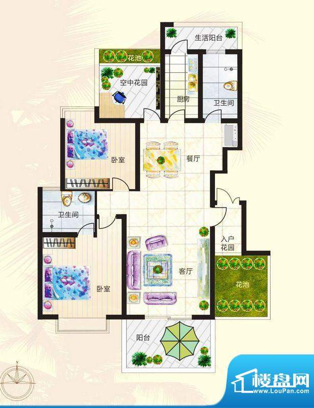 正商红椰湾2居室户型面积:106.00平米
