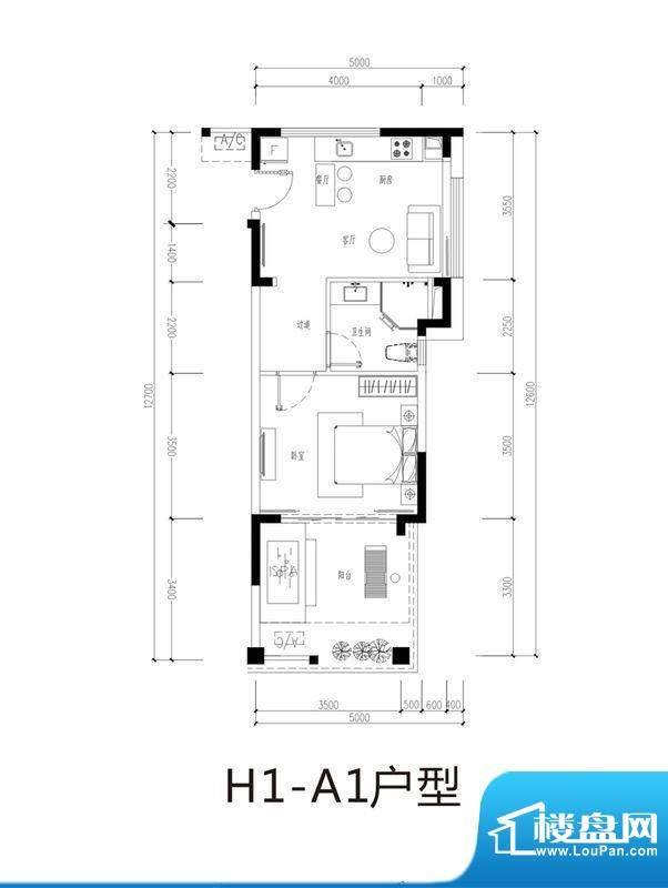 芭蕾雨逸景H1-A1公寓面积:53.00平米