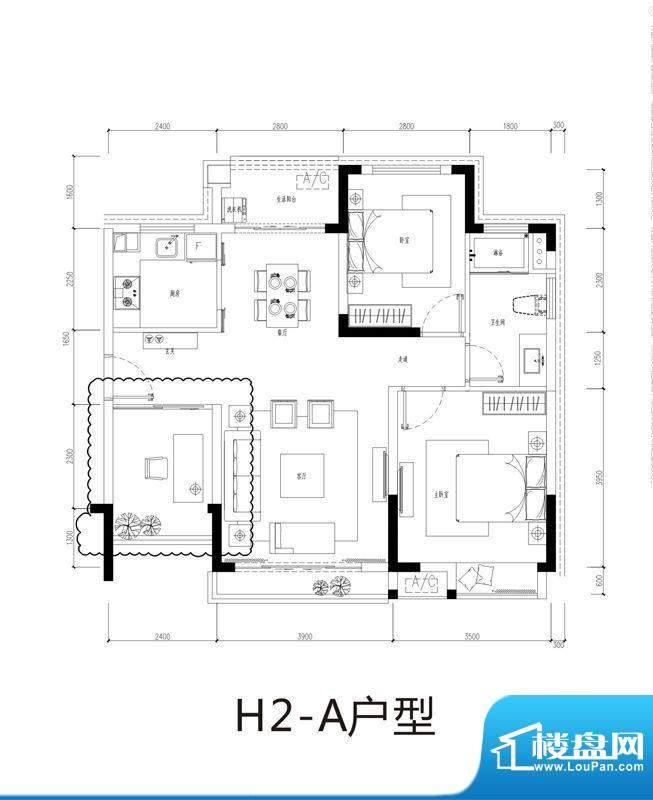 芭蕾雨逸景H2-a公寓面积:83.00平米
