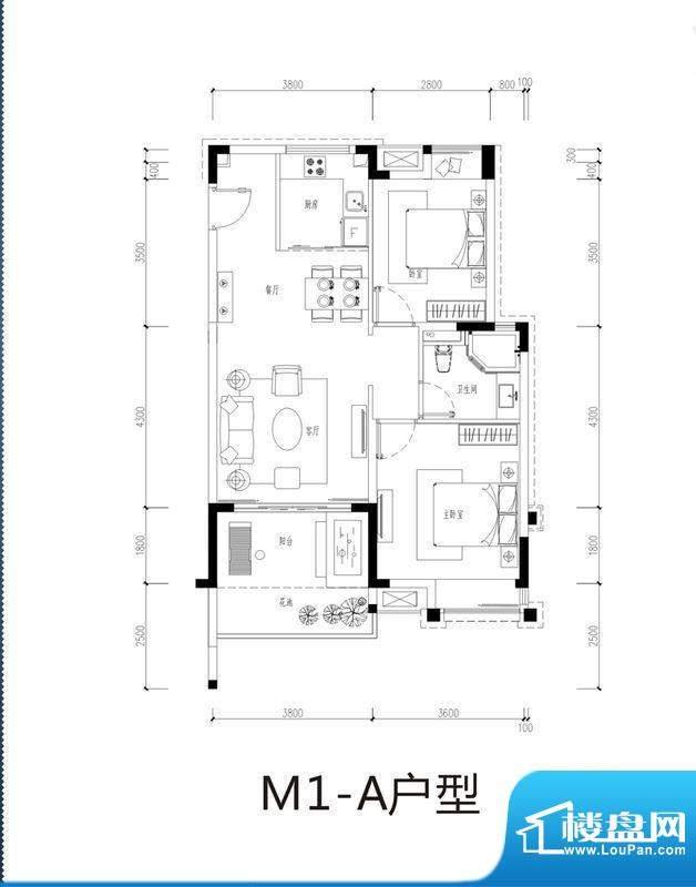 芭蕾雨逸景M1-A洋房面积:78.00平米