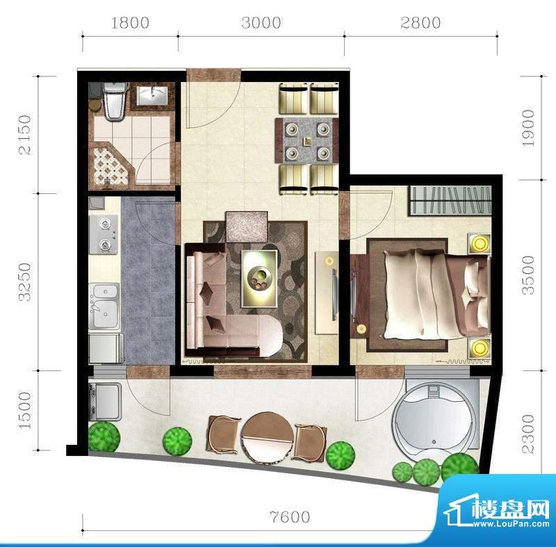 后海口B户型 1室2厅面积:59.18平米