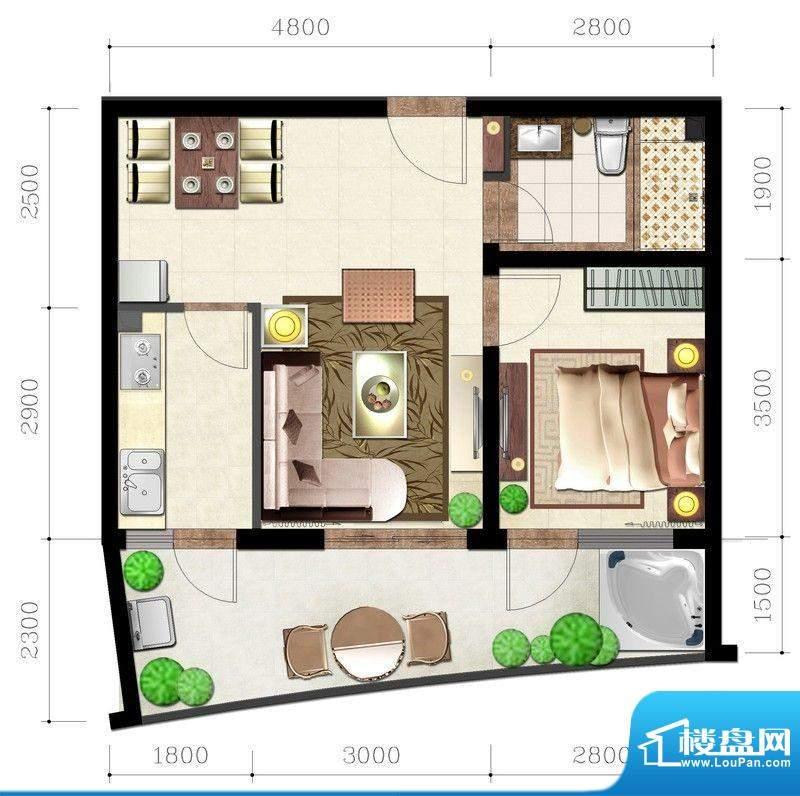 后海口C户型 1室2厅面积:56.71平米