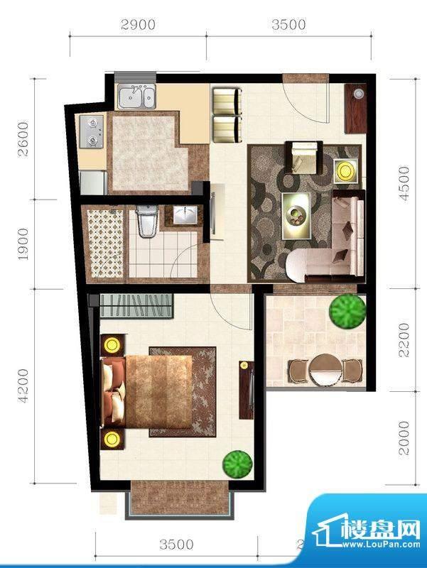 后海口D户型 1室1厅面积:58.34平米