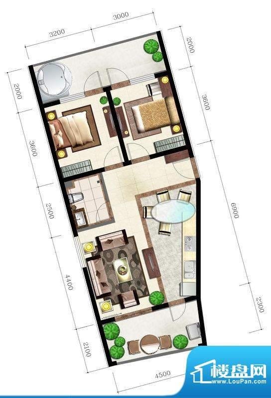 后海口H户型 2室2厅面积:95.93平米