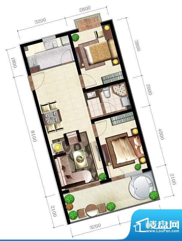 后海口J户型 2室2厅面积:83.23平米