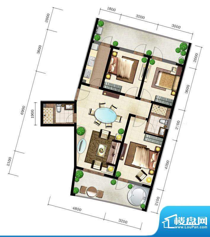 后海口L户型 2室2厅面积:129.62平米