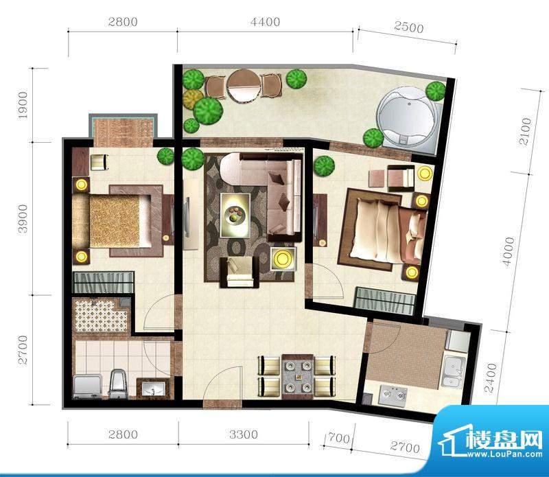 后海口M户型 2室2厅面积:86.89平米
