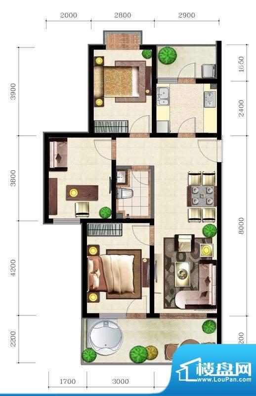 后海口N户型 3室2厅面积:103.20平米