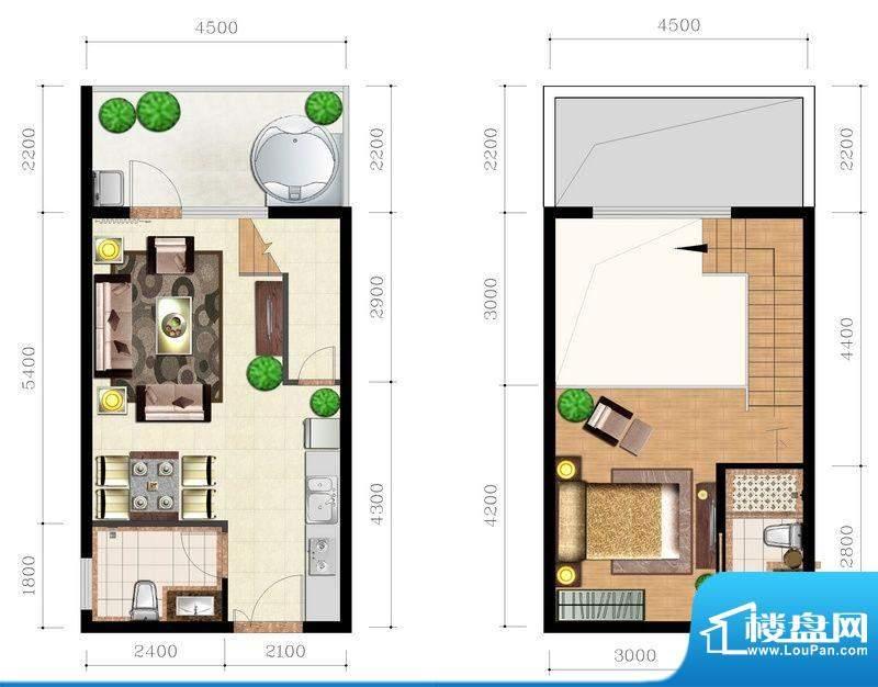 后海口T户型 1室2厅面积:51.08平米