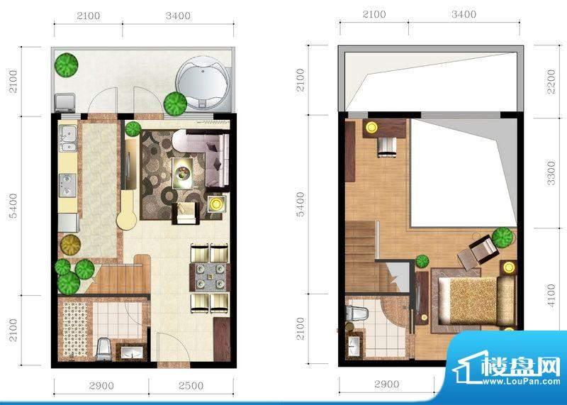 后海口W户型 1室2厅面积:51.08平米