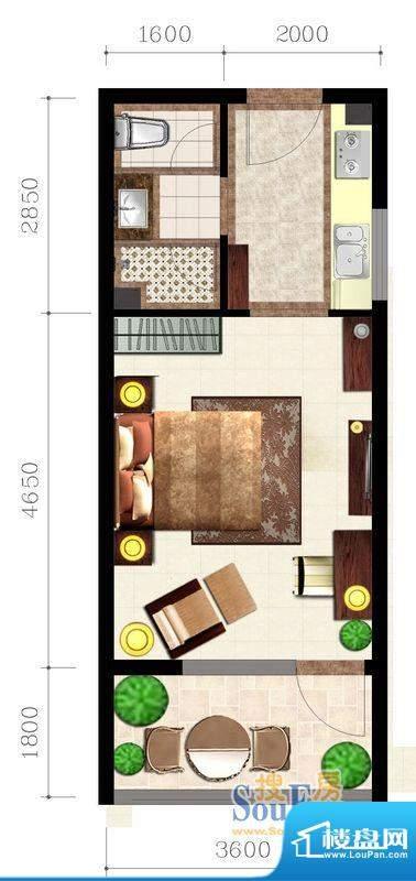 后海口A户型 1室1卫面积:39.02平米