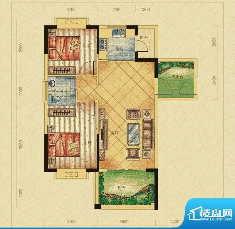 翠堤春晓A户型 2室2面积:77.85平米