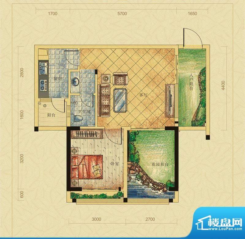 翠堤春晓B户型 1室2面积:59.26平米