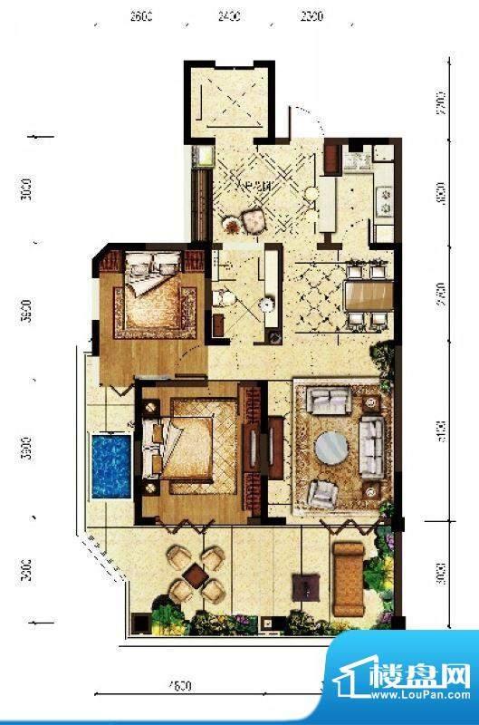 翠屏阅棠公寓G2户型面积:100.99平米
