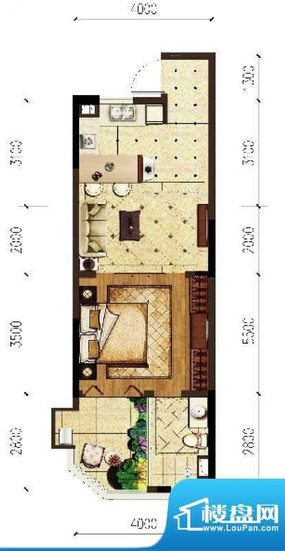 翠屏阅棠公寓D3户型面积:53.84平米