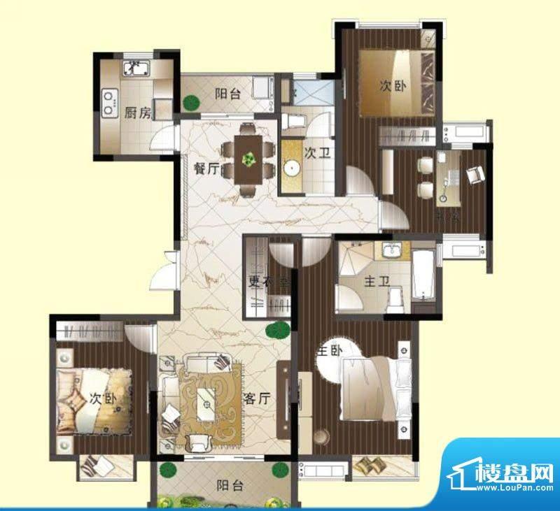 翠屏阅棠三房户型图面积:0.00平米