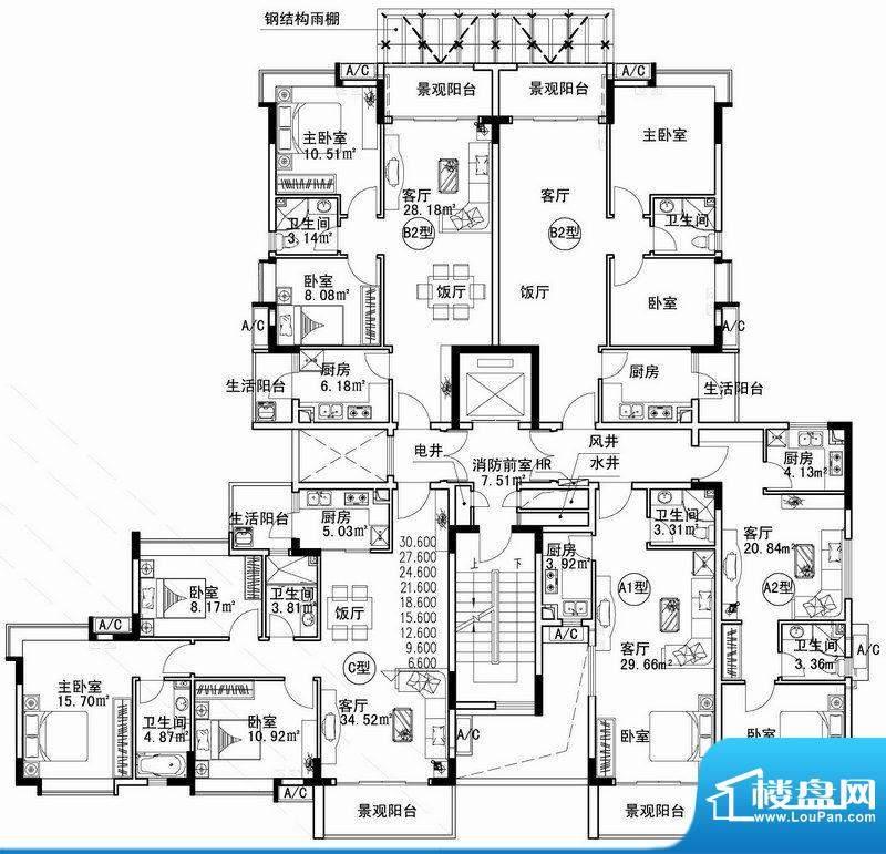 云海花都D-02C 2#楼面积:365.40平米