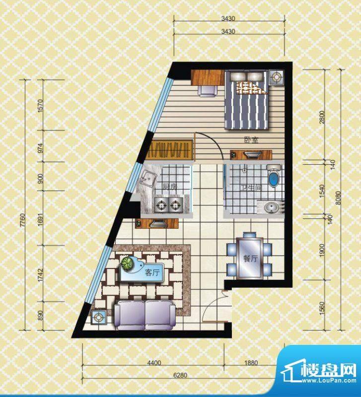 博兴雅居一房户型 1面积:43.43平米