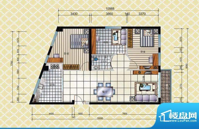 博兴雅居三房户型 3面积:120.28平米