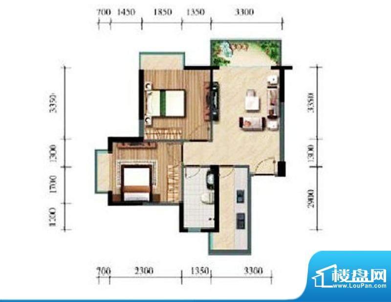 涛昇国际C栋A户型 2面积:68.93平米