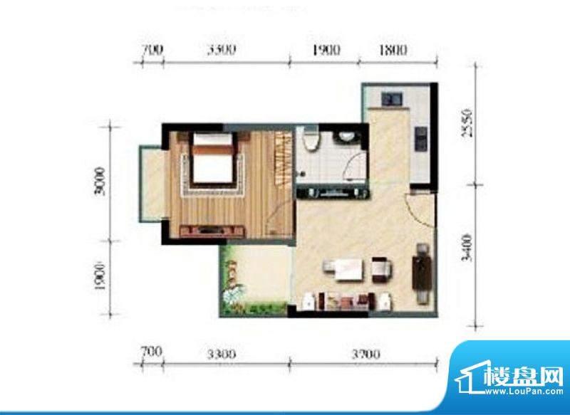 涛昇国际C栋C户型 1面积:42.96平米