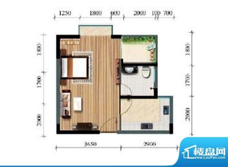 涛昇国际C栋D户型 1面积:41.84平米