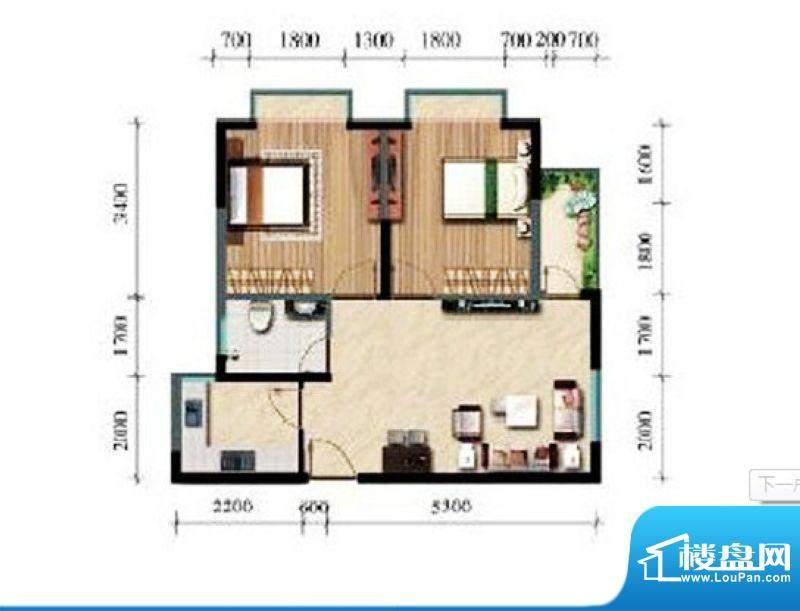 涛昇国际C栋E户型 2面积:70.90平米