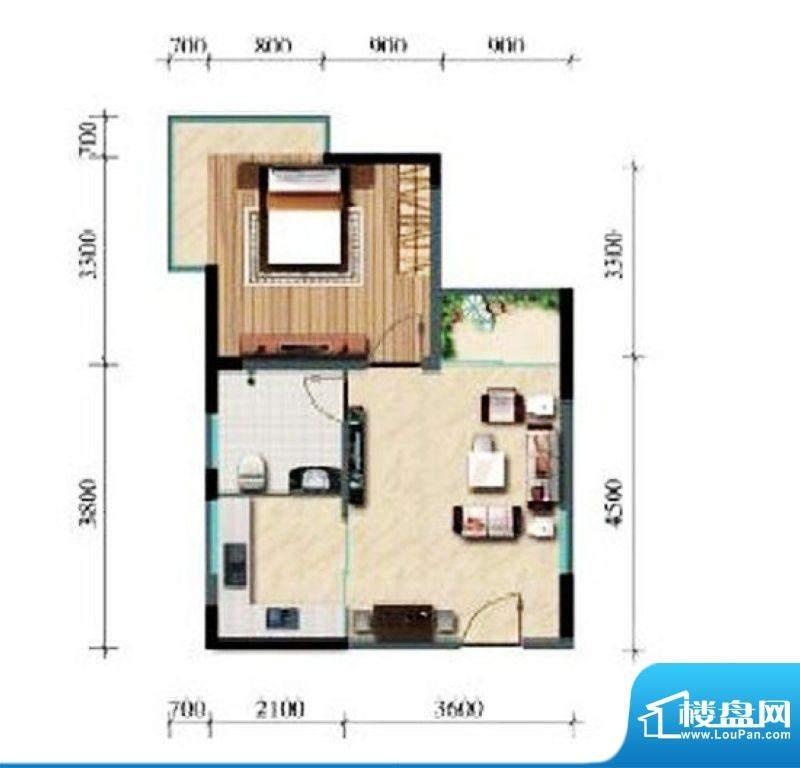涛昇国际A栋A户型 1面积:51.90平米