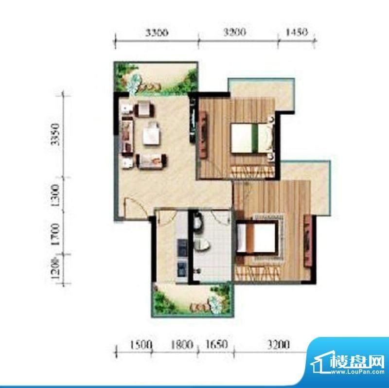 涛昇国际C栋B户型 2面积:74.64平米