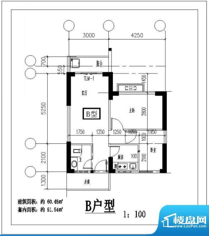 凤翔花园B户型图 2室面积:60.45平米