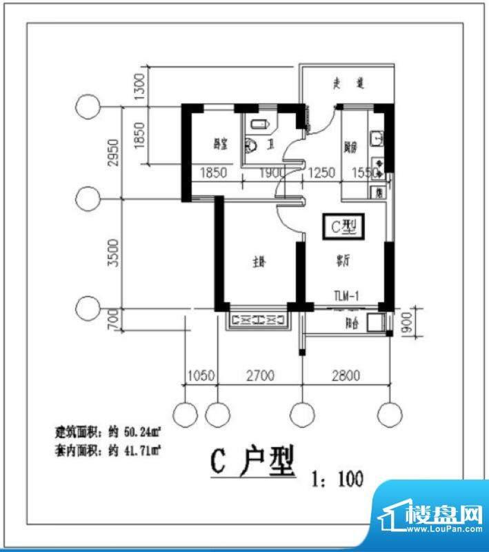 凤翔花园C户型图 2室面积:50.24平米
