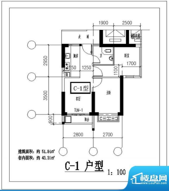凤翔花园C-1户型图 面积:51.84平米