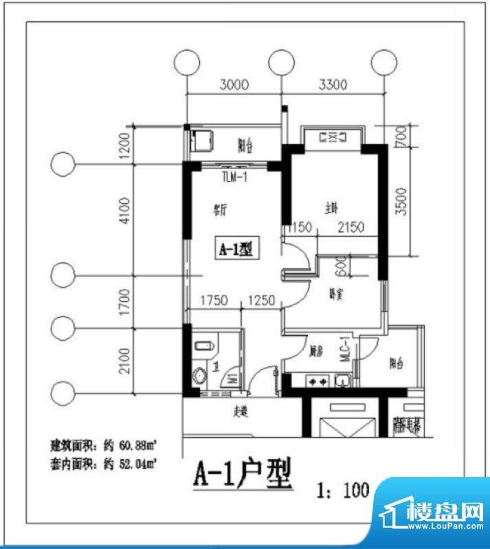 凤翔花园A-1户型图 面积:60.88平米