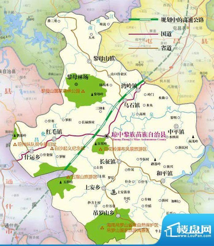 水晶绿岛琼中县区图