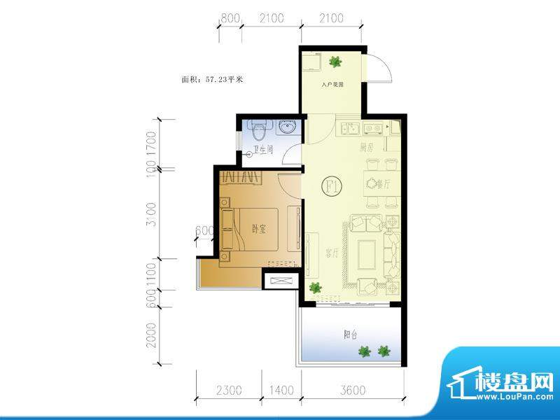 水晶绿岛F户型 1室2面积:57.23平米