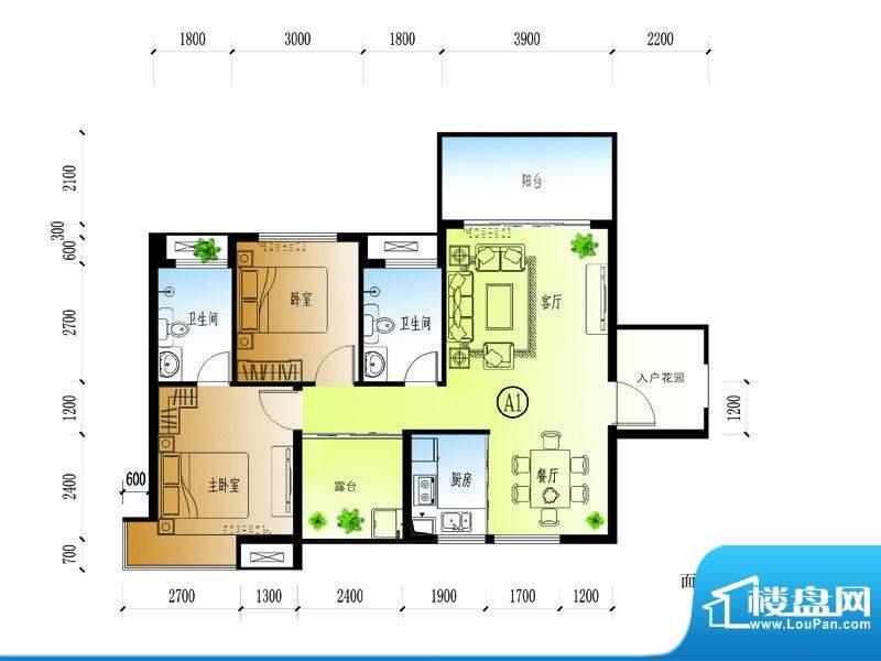 水晶绿岛A户型 2室2面积:92.40平米